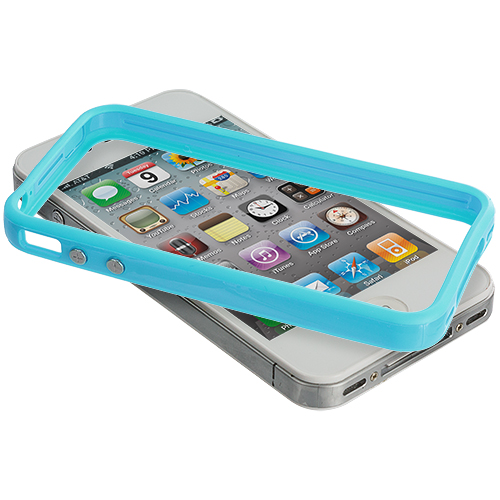 Apple iPhone 4 / 4S 2 in 1 Combo Bundle Pack - Solid Baby Blue Pink TPU Bumper with Metal Buttons : Color Solid Baby Blue