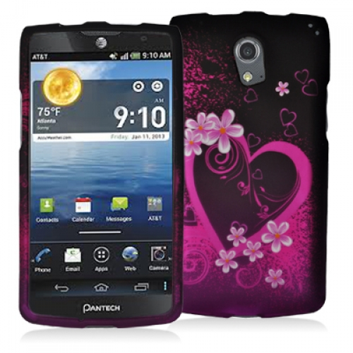 Pantech Discover Purple Love Hard Rubberized Design Case Cover