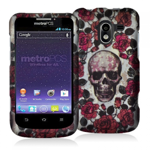 ZTE Avid 4G N9120 Gorgeous Skull Hard Rubberized Design Case Cover