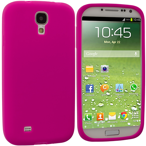 Samsung Galaxy S4 2 in 1 Combo Bundle Pack - White Pink Silicone Soft Skin Case Cover : Color Hot Pink