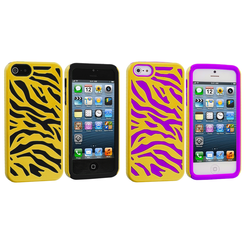 Apple iPhone 5/5S/SE Combo Pack : Black / Yellow Hybrid Zebra Hard/Soft Case Cover