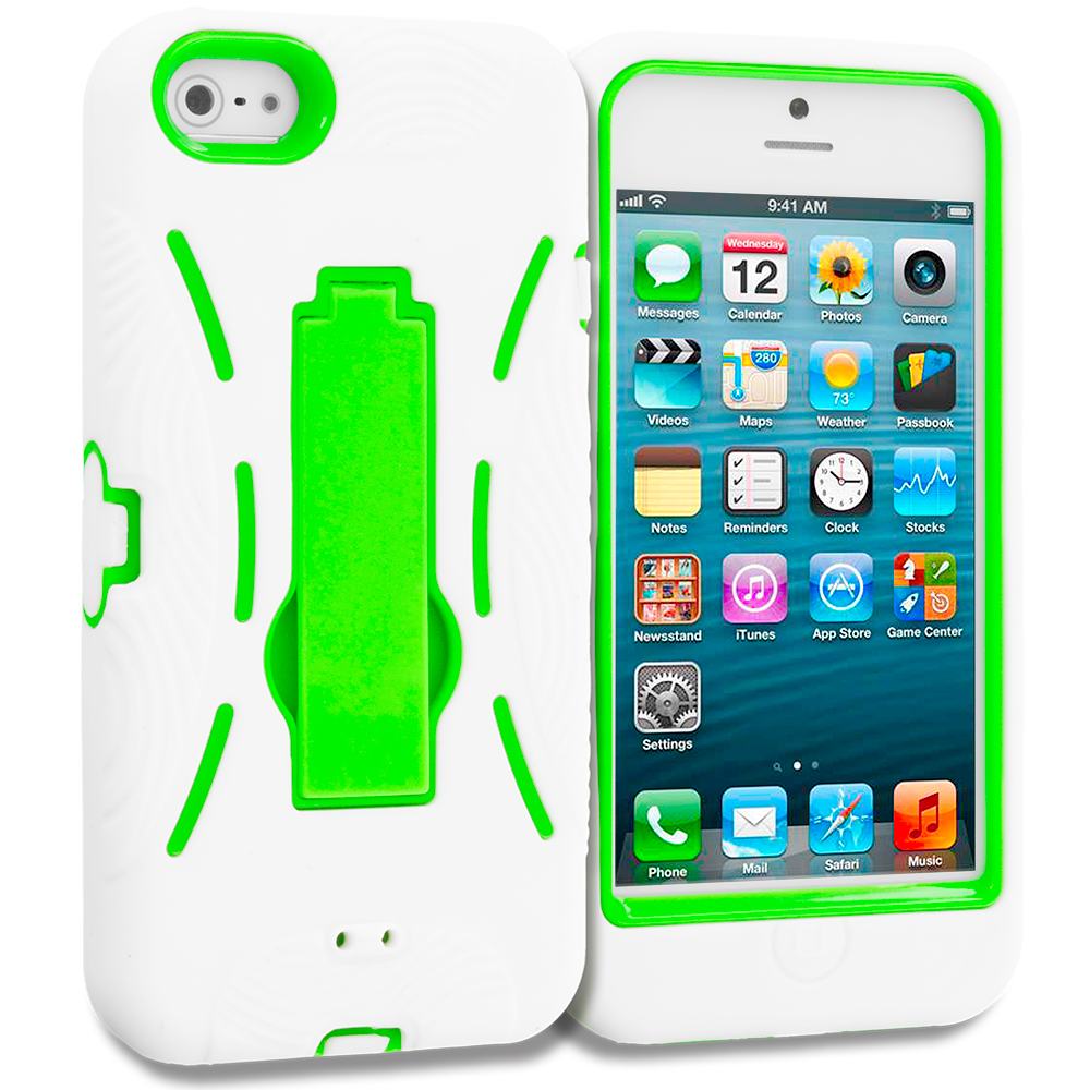 Apple iPhone 5/5S/SE Combo Pack : White / Baby Blue Hybrid Heavy Duty Hard/Soft Case Cover with Stand : Color White / Neon Green