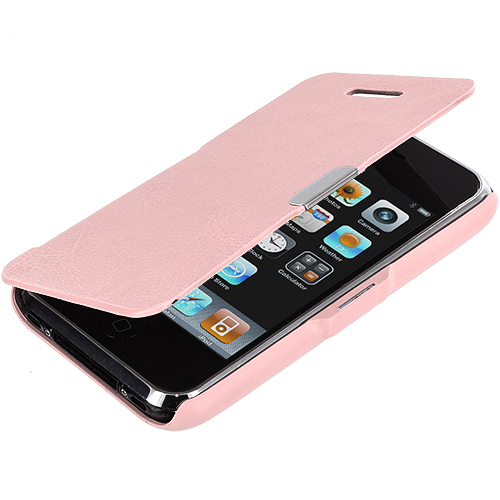 Apple iPhone 3G / 3GS Light Pink Texture Magnetic Wallet Case Cover Pouch