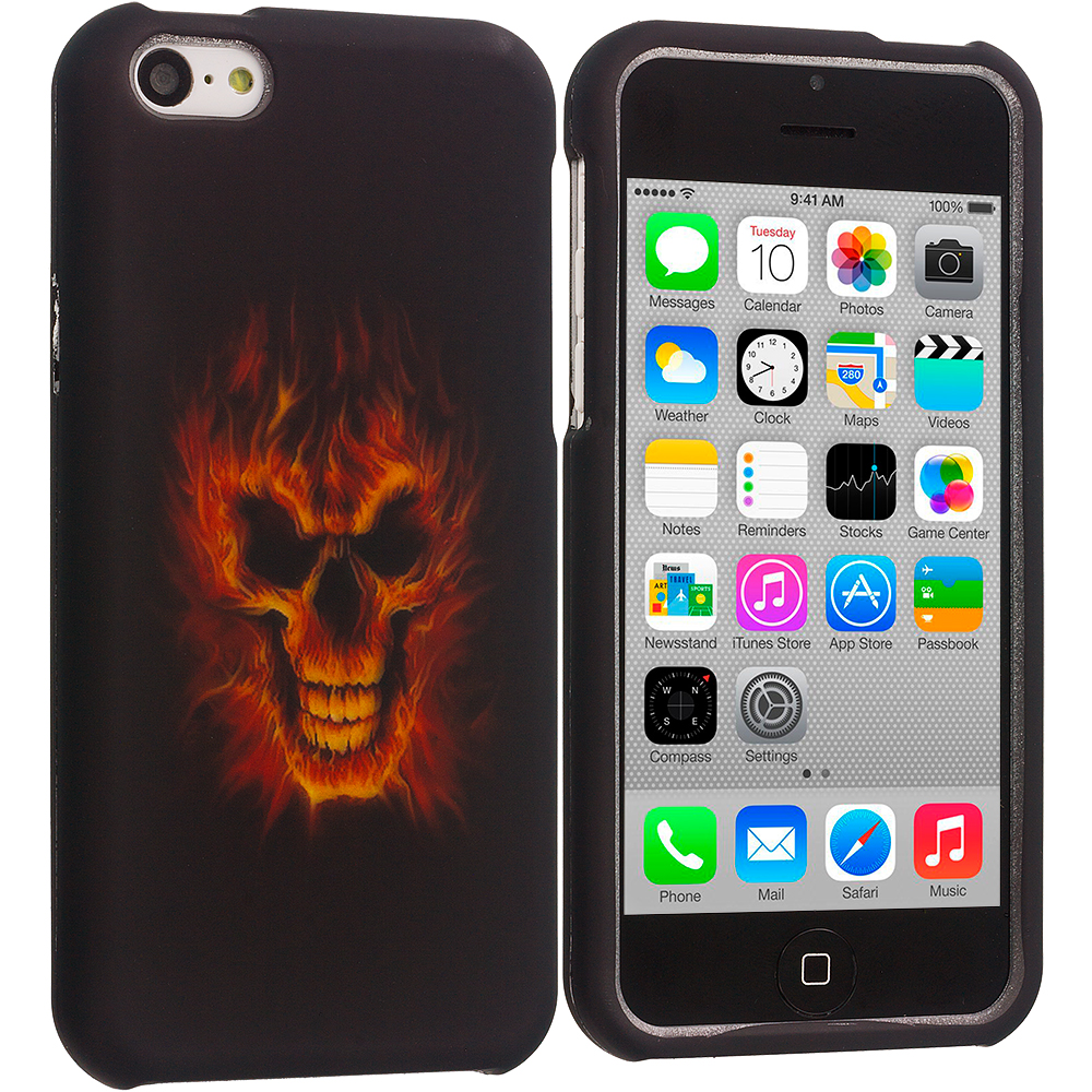 Apple iPhone 5C 3 in 1 Combo Bundle Pack - Fire Skull Hard Rubberized Design Case Cover : Color Fire Skull