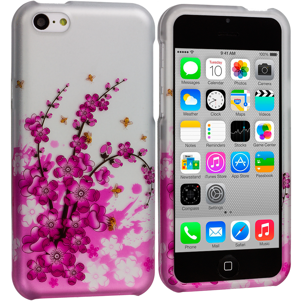 Apple iPhone 5C Spring Flowers Hard Rubberized Design Case Cover