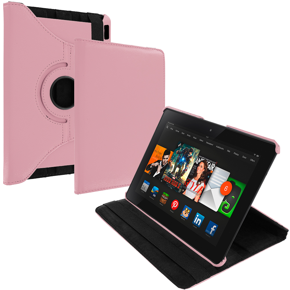 Amazon Kindle Fire HDX 8.9 Pink 360 Rotating Leather Pouch Case Cover Stand