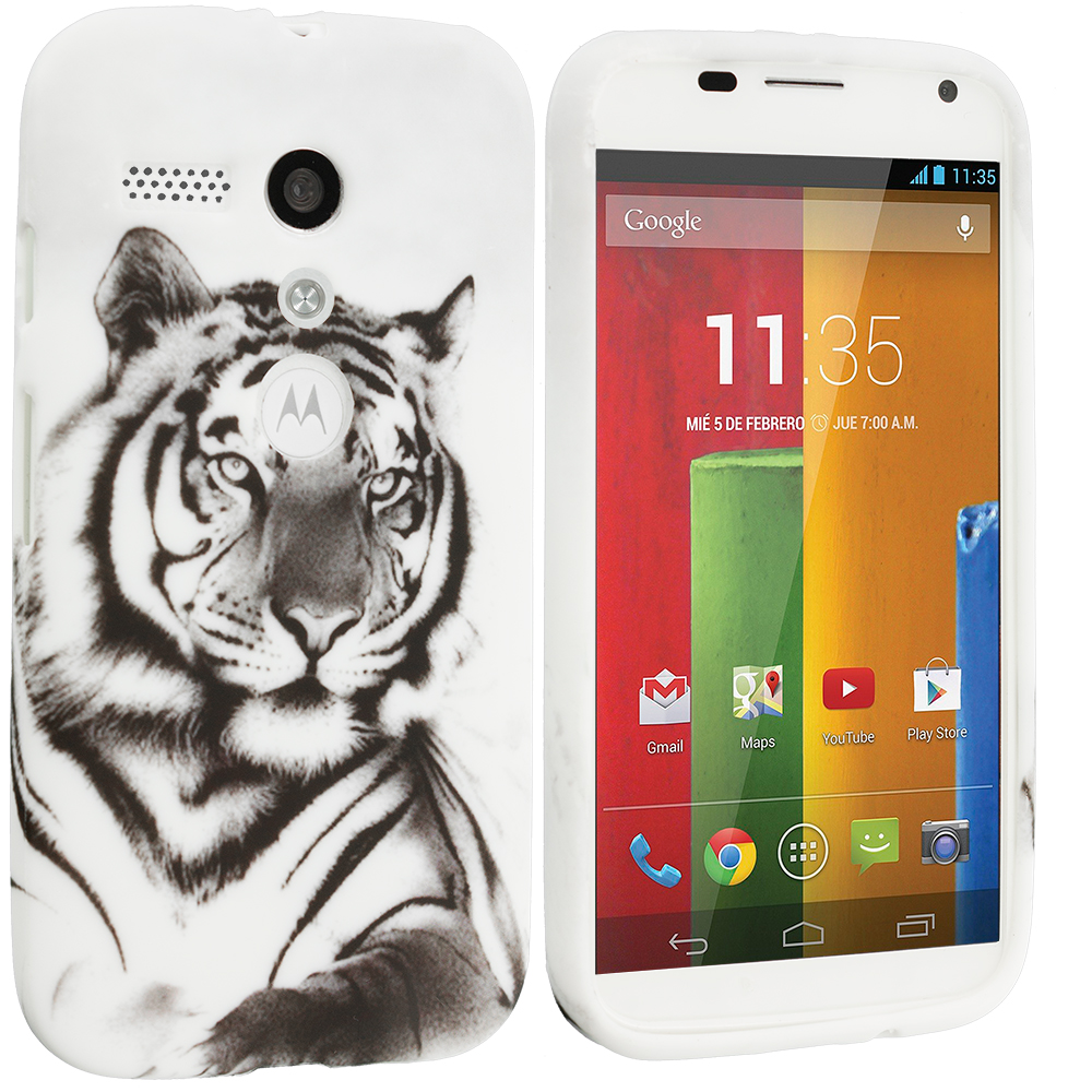Motorola Moto G 2 in 1 Combo Bundle Pack - White Wolf Tiger TPU Design Soft Case Cover : Color White Tiger