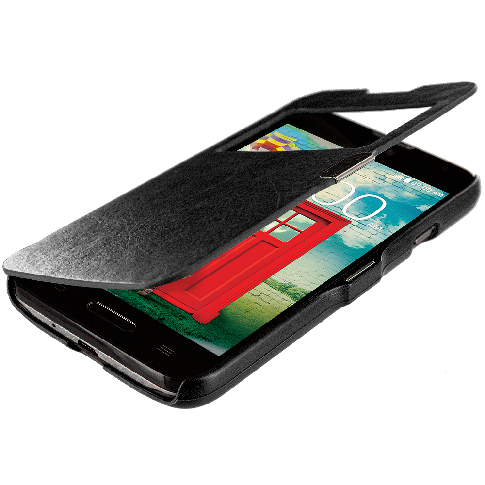 LG Optimus L70 Exceed 2 Realm LS620 Black (Open) Magnetic Wallet Case Cover Pouch
