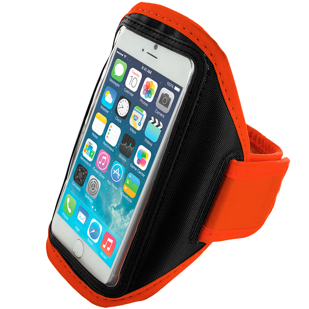 Apple iPhone 6 6S (4.7) 4 in 1 Combo Bundle Pack - Running Sports Gym Armband : Color Orange
