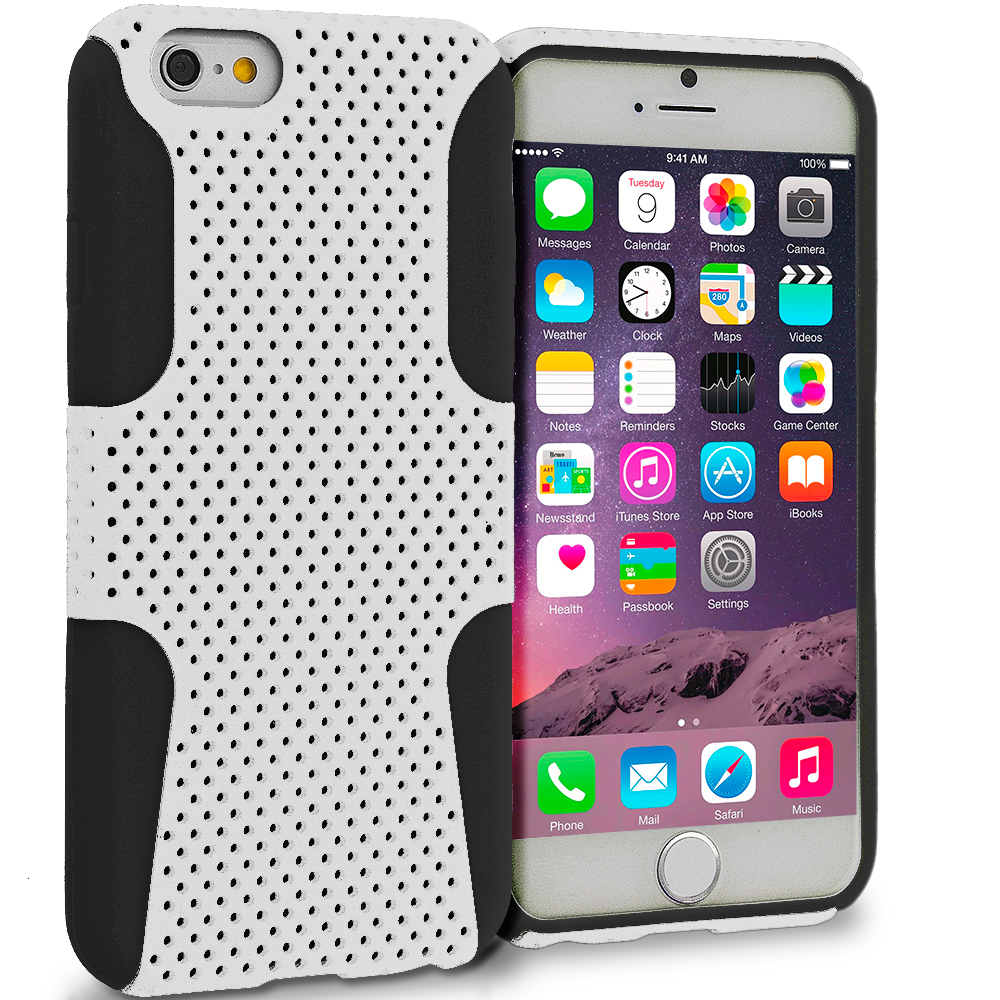 Apple iPhone 6 6S (4.7) 4 in 1 Combo Bundle Pack - Hybrid Mesh Hard/Soft Case Cover : Color Black / White
