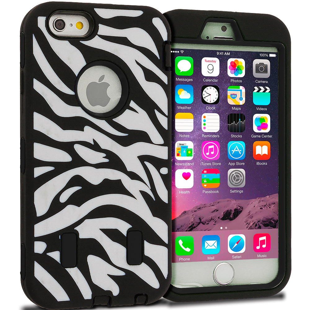 Apple iPhone 6 6S (4.7) Black Zebra Hybrid Deluxe Hard/Soft Case Cover