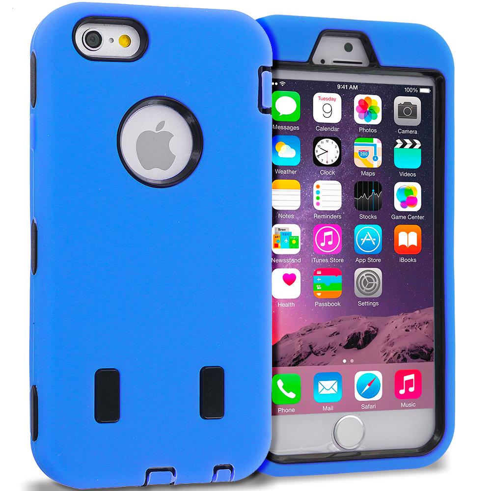 Apple iPhone 6 Plus 6S Plus (5.5) Blue / Black Hybrid Deluxe Hard/Soft Case Cover