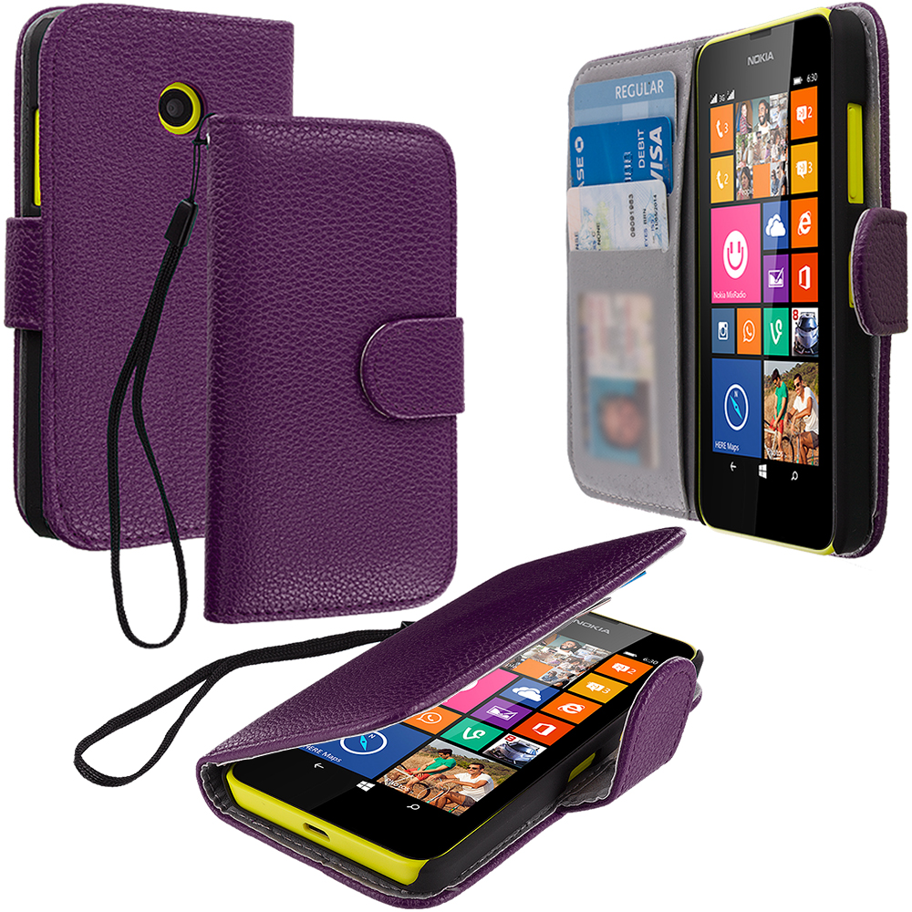 Nokia Lumia 630 635 Purple Leather Wallet Pouch Case Cover with Slots