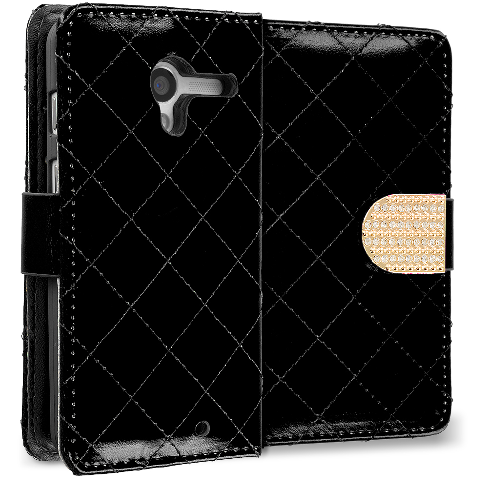 Motorola Moto X Black Luxury Wallet Diamond Design Case Cover With Slots