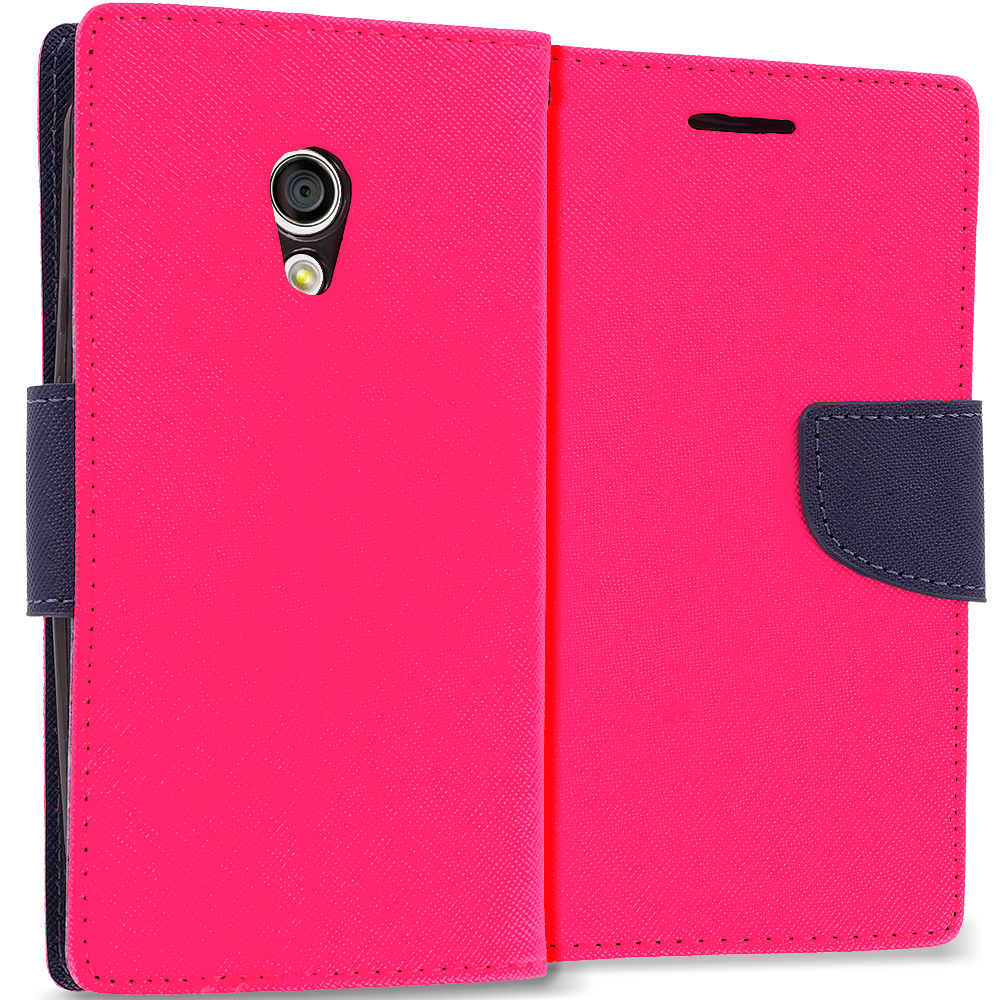 Motorola Moto G 2nd Gen 2014 Hot Pink / Navy Blue Leather Flip Wallet Pouch TPU Case Cover with ID Card Slots