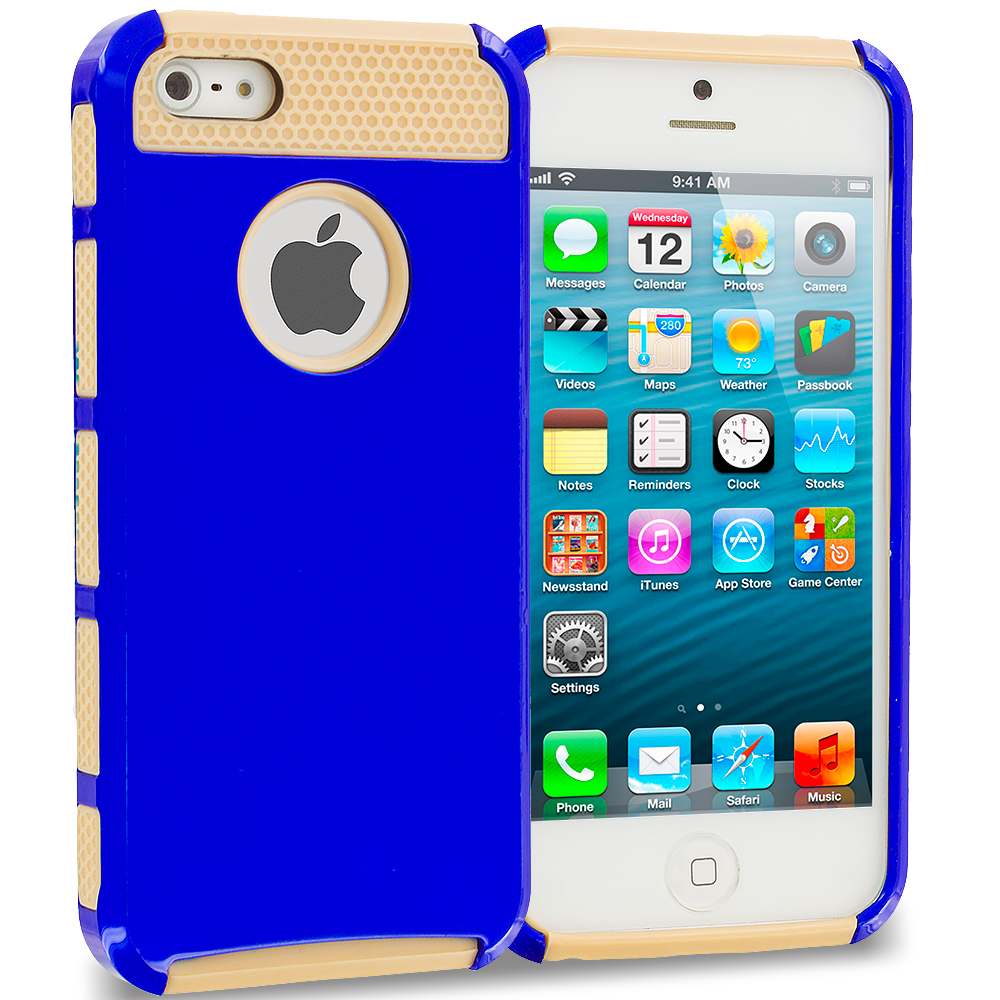 Apple iPhone 5 / 5S Brown / Baby Blue Hybrid Hard TPU Honeycomb Rugged Case Cover