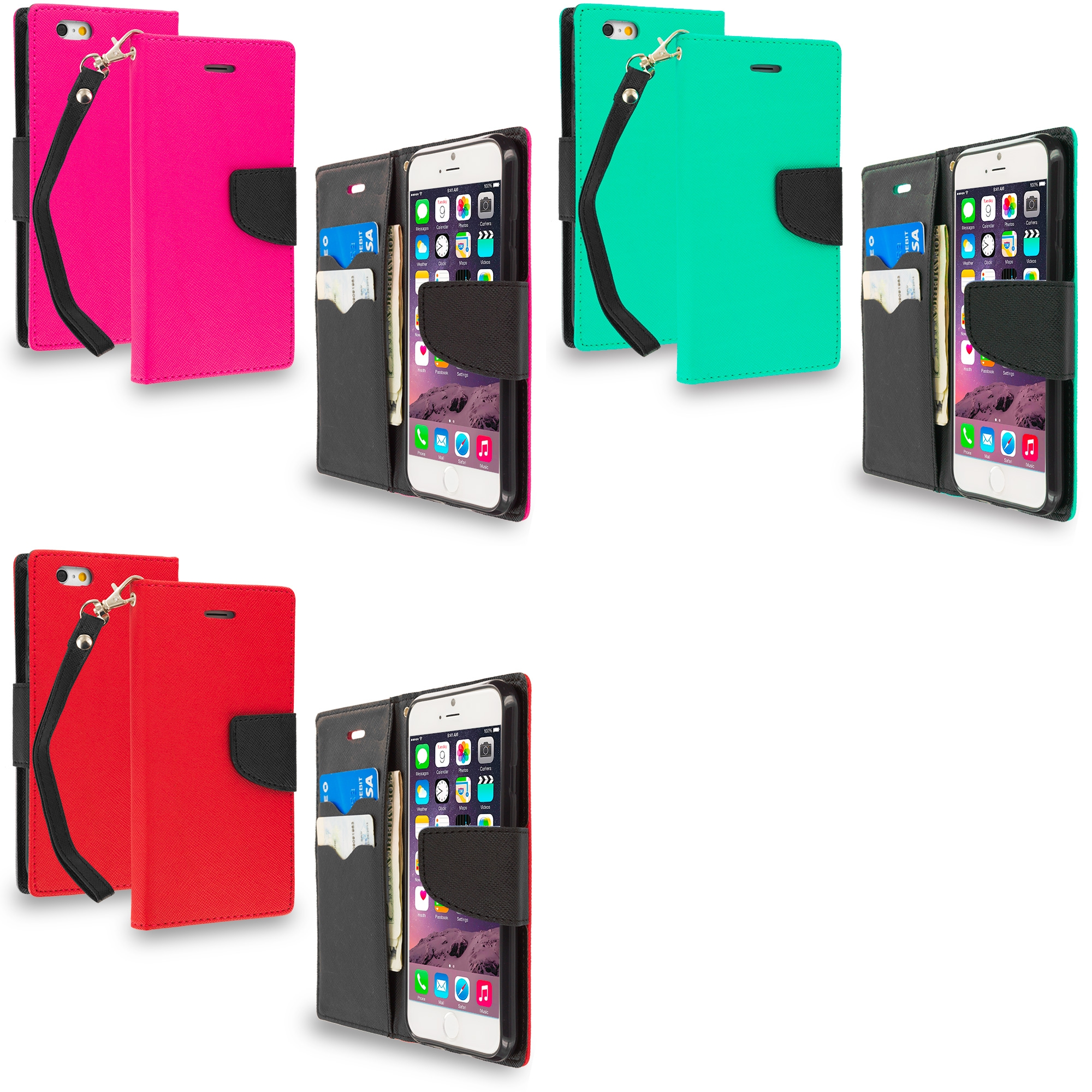 Apple iPhone 6 6S (4.7) 3 in 1 Combo Bundle Pack - Leather Flip Wallet Pouch TPU Case Cover with ID Card Slots