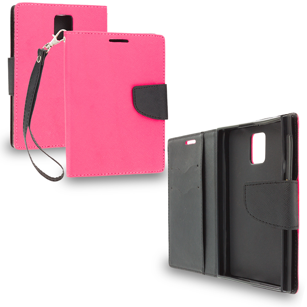 Blackberry Passport Hot Pink / Black Leather Flip Wallet Pouch TPU Case Cover with ID Card Slots