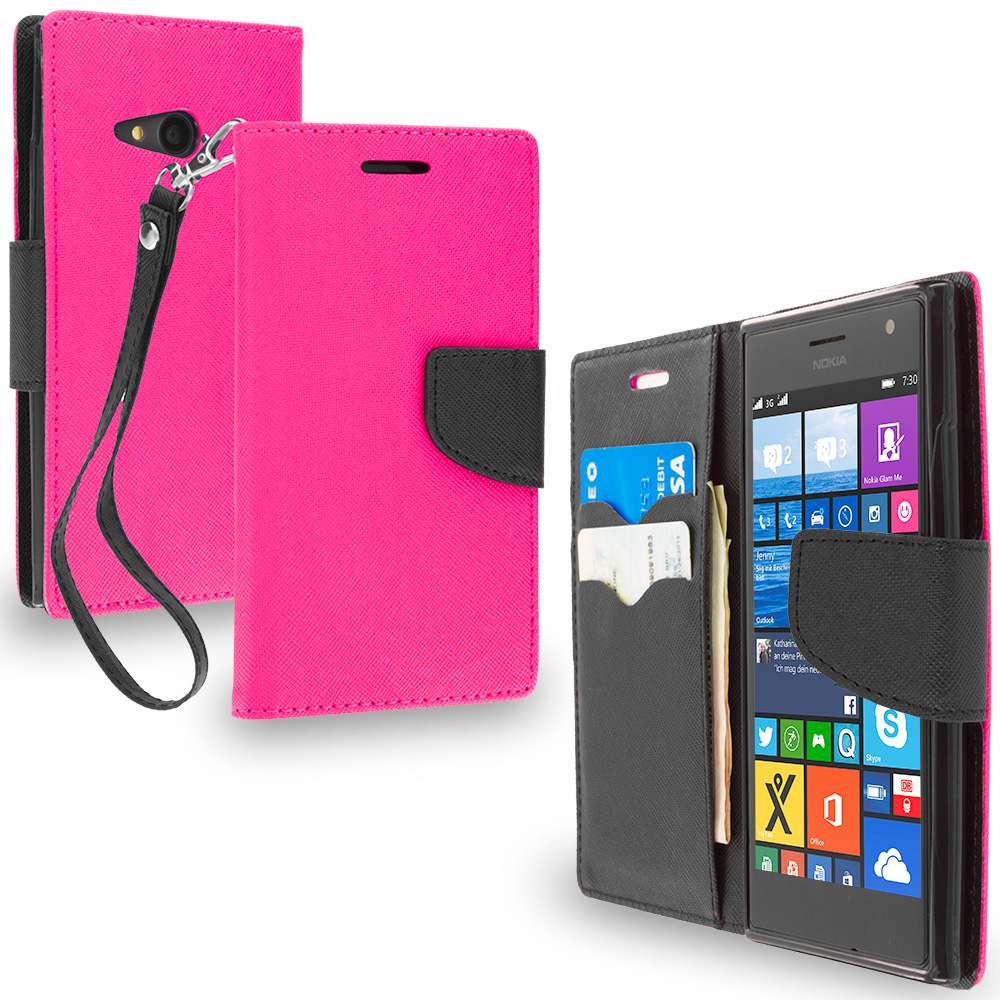 Nokia Lumia 730 735 Hot Pink / Black Leather Flip Wallet Pouch TPU Case Cover with ID Card Slots