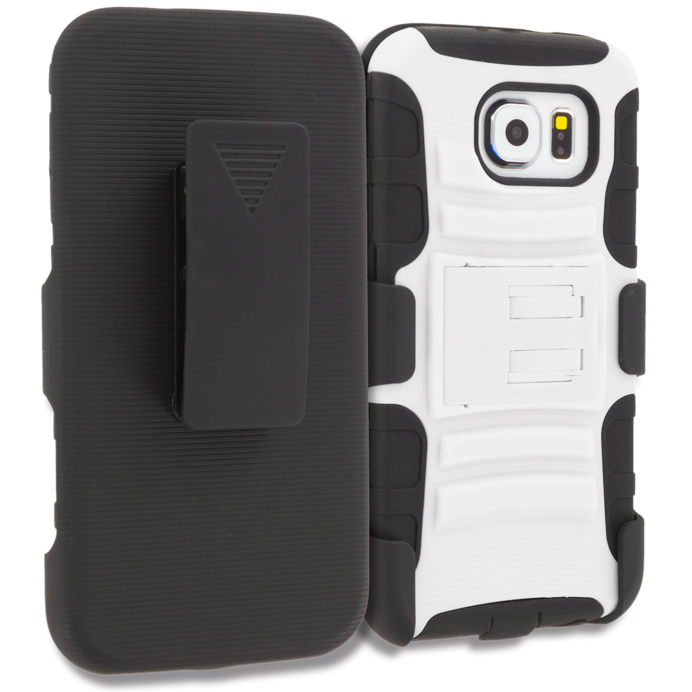 Samsung Galaxy S6 Combo Pack : Black Hybrid Heavy Duty Rugged Case Cover with Belt Clip Holster : Color White Black