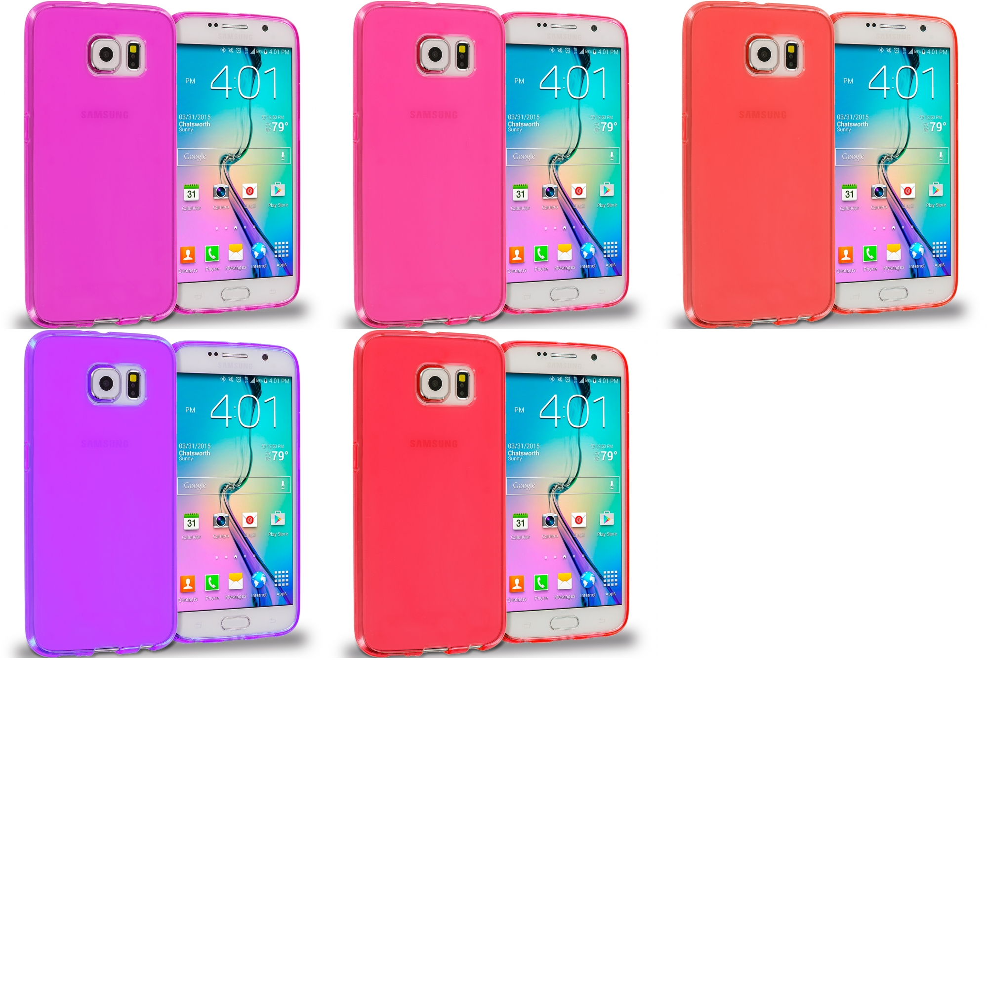Samsung Galaxy S6 Combo Pack : Hot Pink Plain TPU Rubber Skin Case Cover