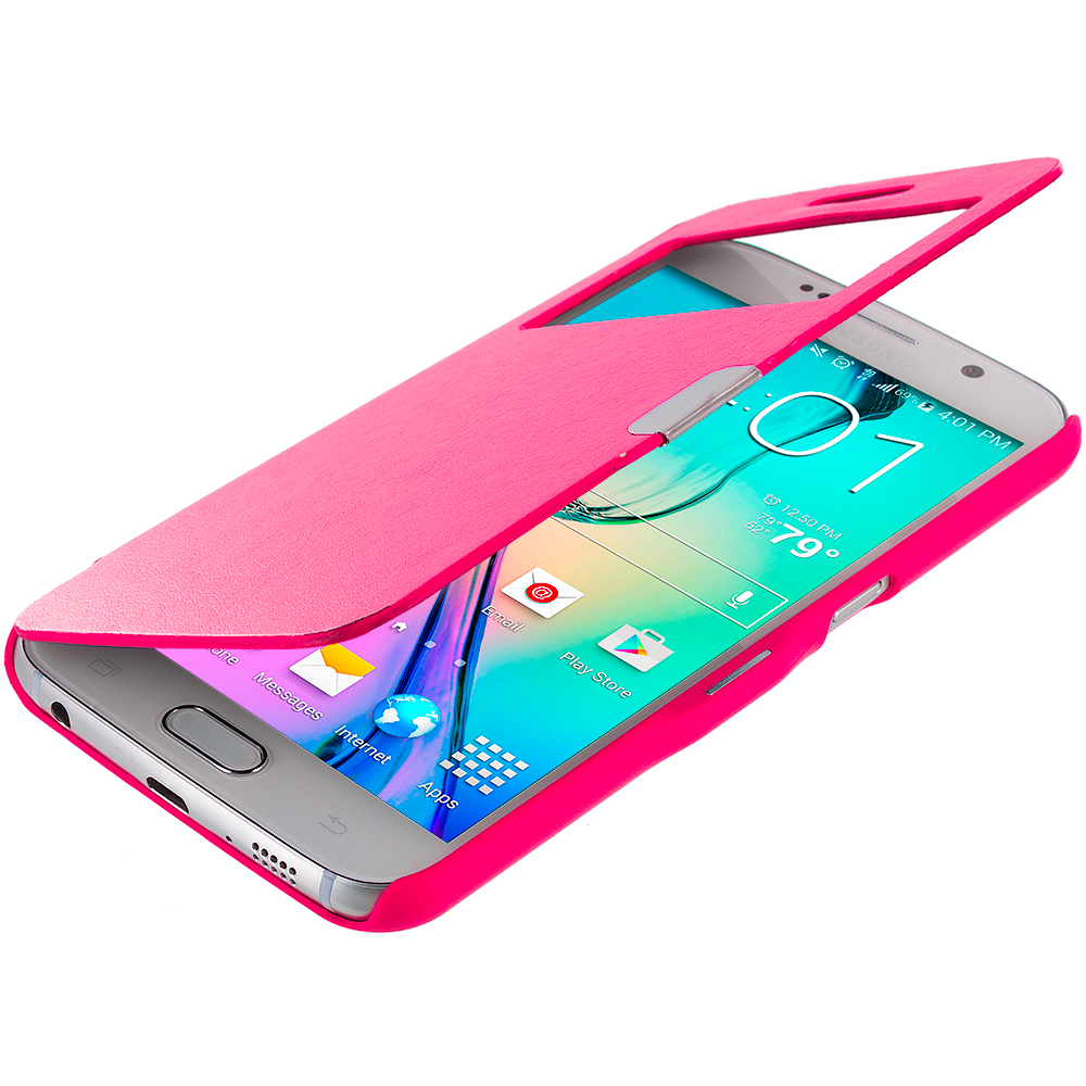 Samsung Galaxy S6 Hot Pink Window Magnetic Flip Wallet Case Cover Pouch