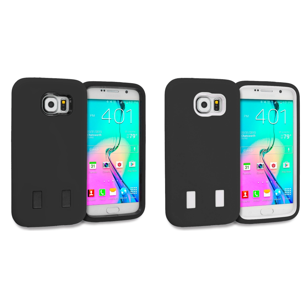 Samsung Galaxy S6 Combo Pack : Black / Black Hybrid Deluxe Hard/Soft Case Cover