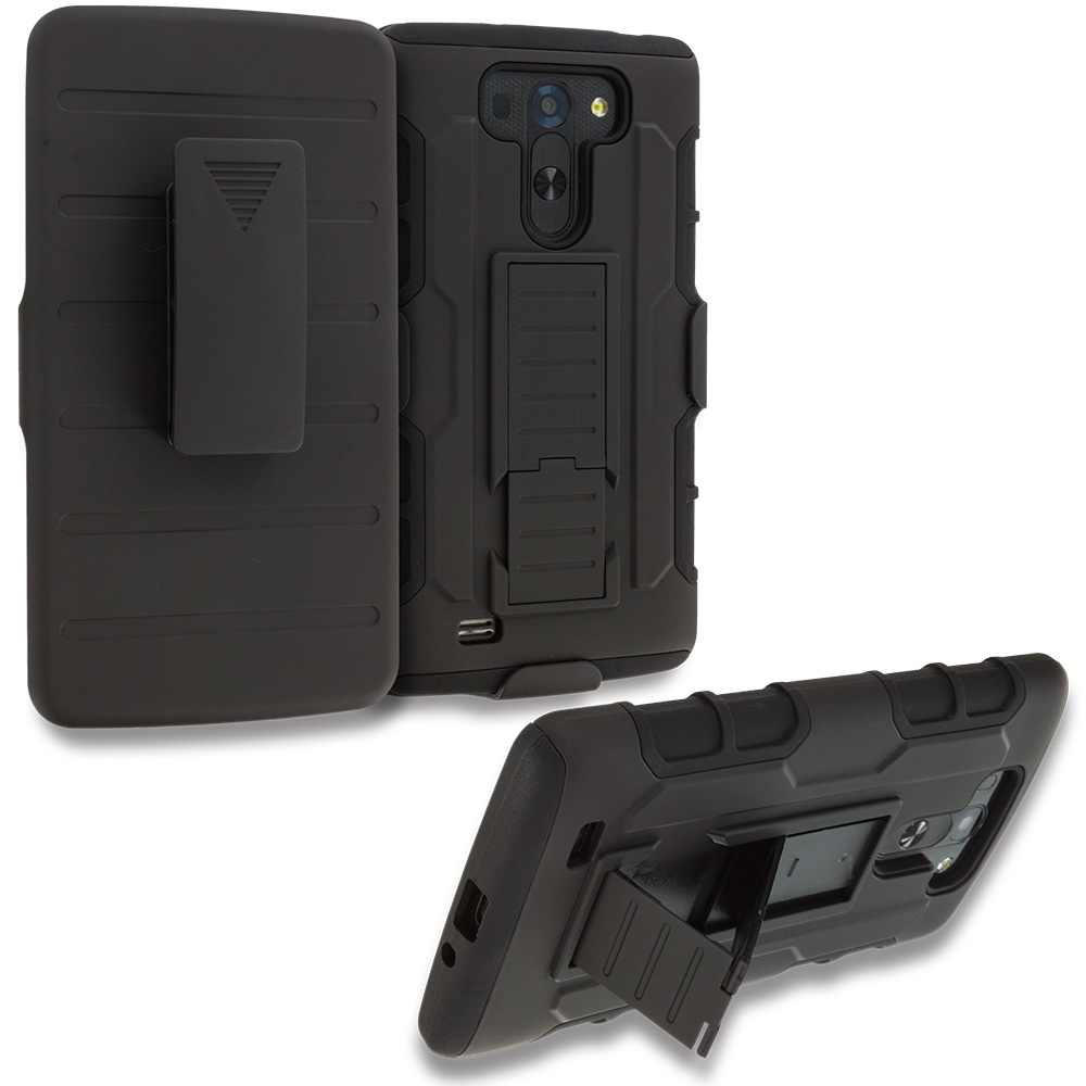 LG G Vista Black Hybrid Rugged Robot Armor Heavy Duty Case Cover With Belt  Clip Holster