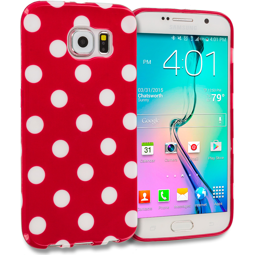 Samsung Galaxy S6 Combo Pack : Black / White TPU Polka Dot Skin Case Cover : Color Red / White