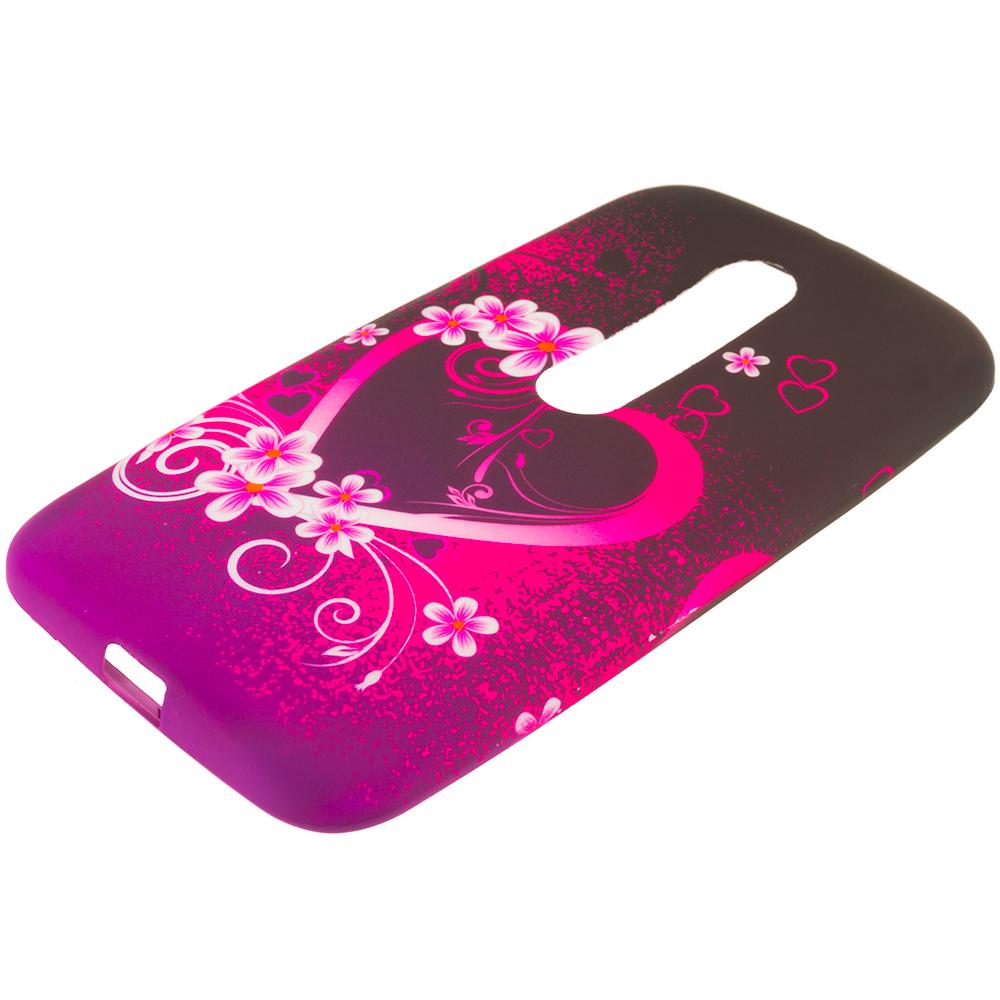 Motorola Moto G 3rd Gen 2015 Purple Love TPU Design Soft Rubber Case Cover