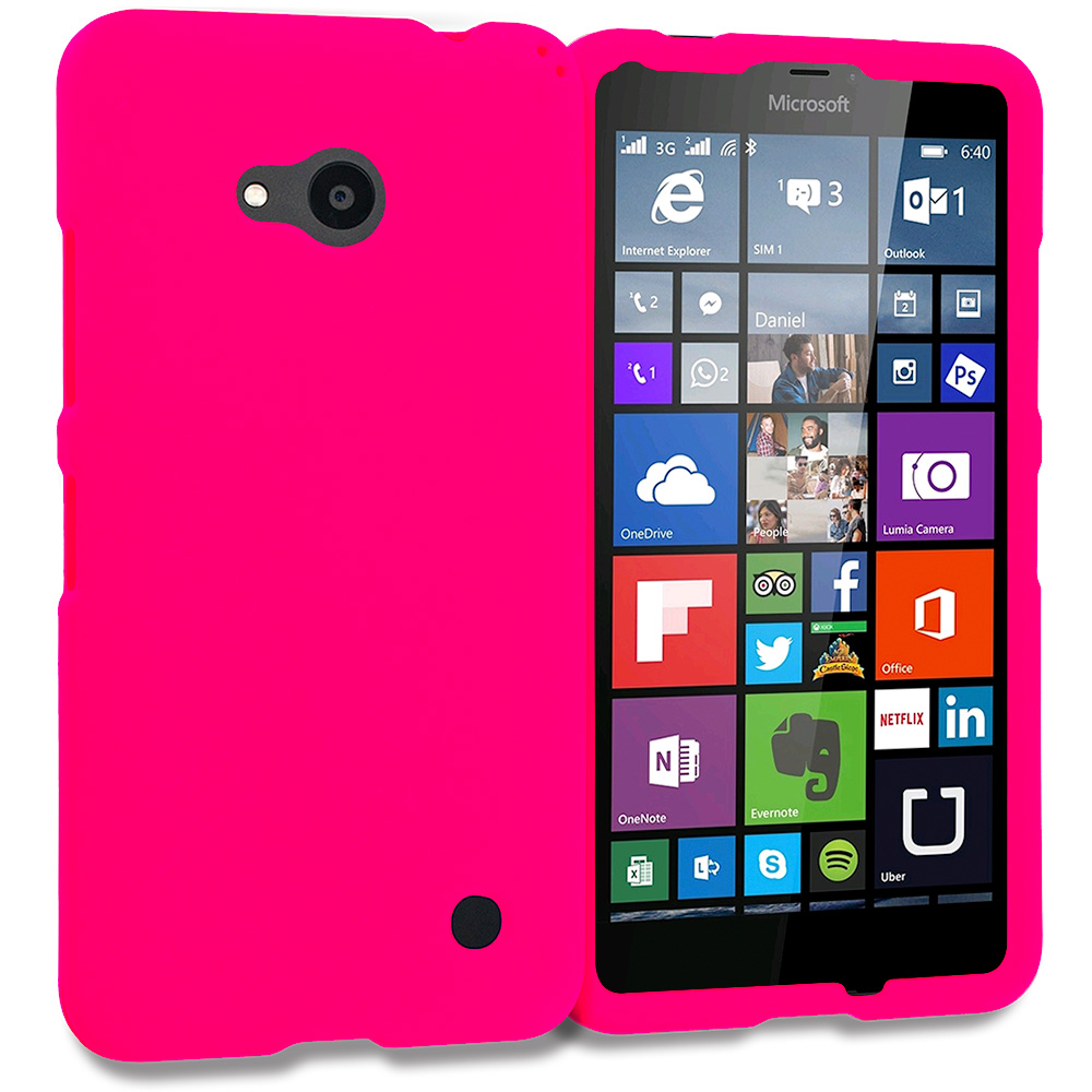 Microsoft Lumia 640 Hot Pink Hard Rubberized Case Cover