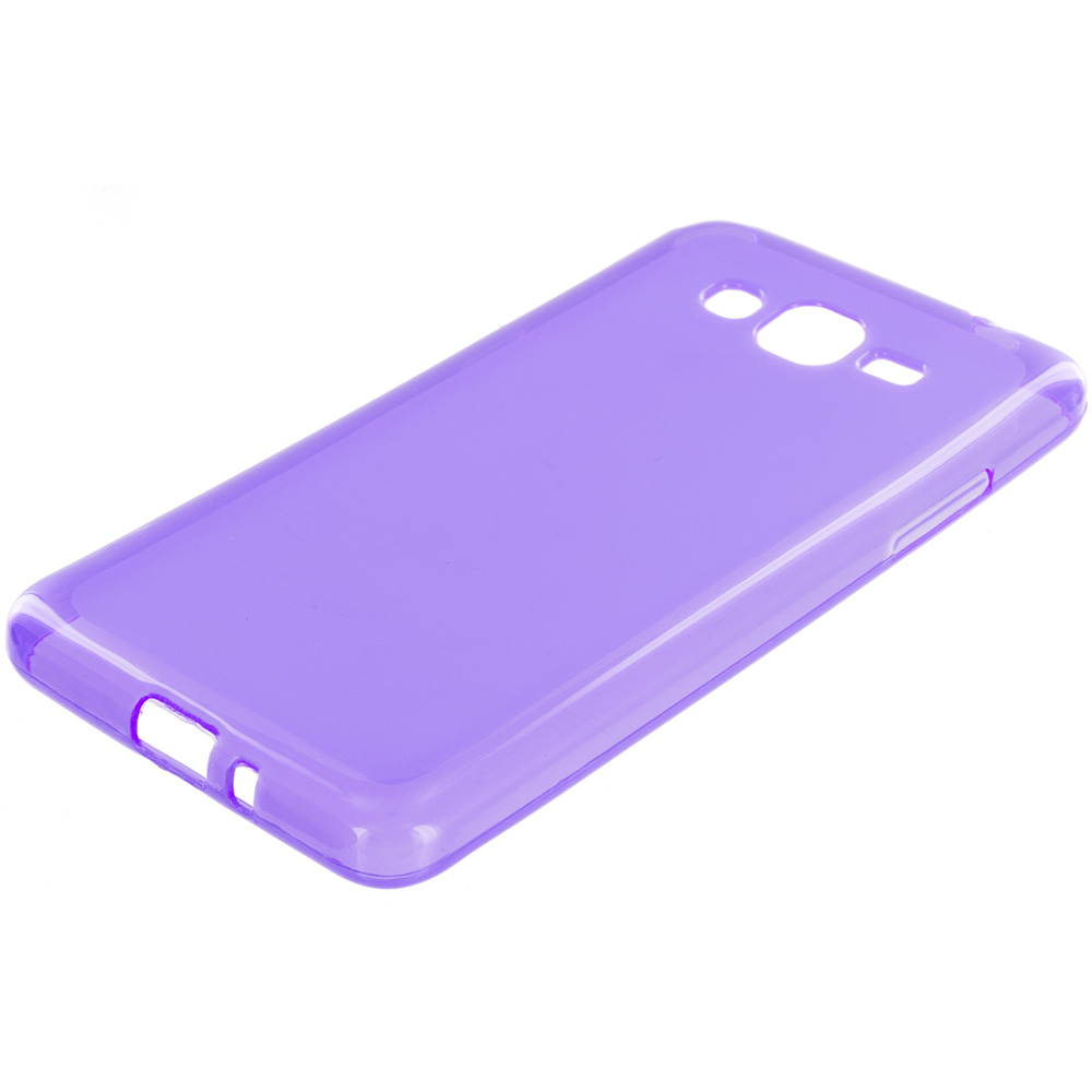 Samsung Galaxy Grand Prime LTE G530 2 in 1 Combo Bundle Pack - Hot Pink Purple TPU Rubber Skin Case Cover : Color Purple