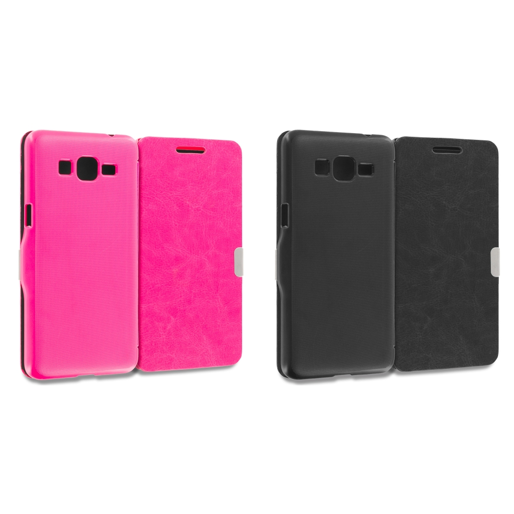 Samsung Galaxy Grand Prime LTE G530 2 in 1 Combo Bundle Pack - Hot Pink Black Magnetic Flip Wallet Case Cover Pouch