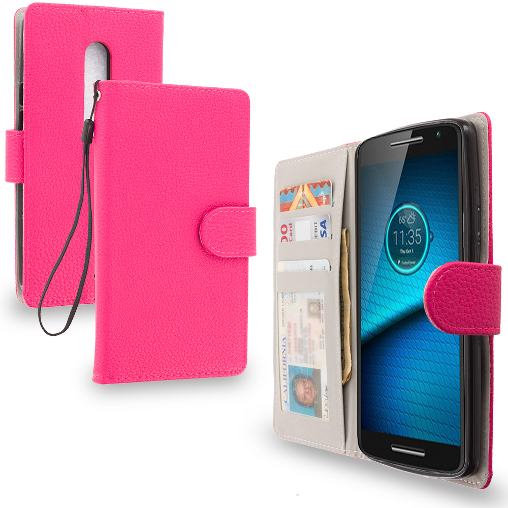 Motorola Droid Maxx 2 XT1565 Hot Pink Leather Wallet Pouch Case Cover with Slots