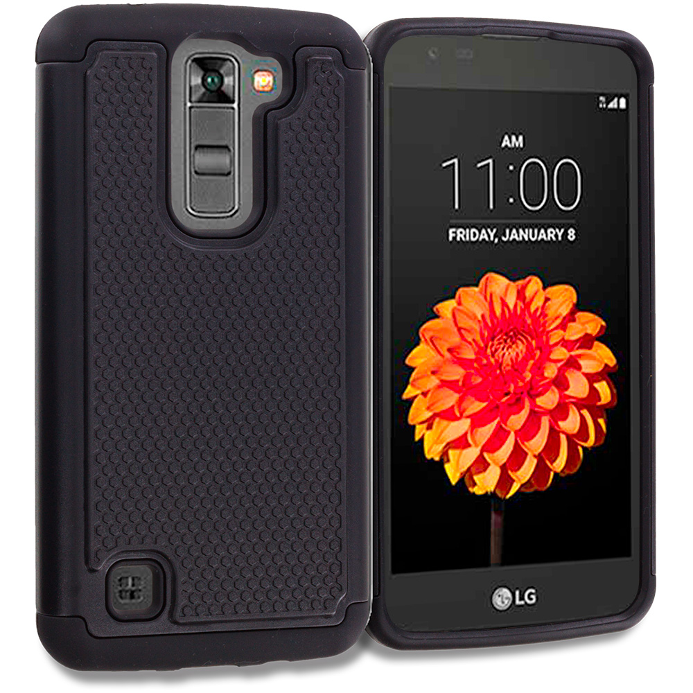 LG Tribute 5 K7 Phoenix 2 Escape 3 Treasure Black Hybrid Rugged Grip Shockproof Case Cover