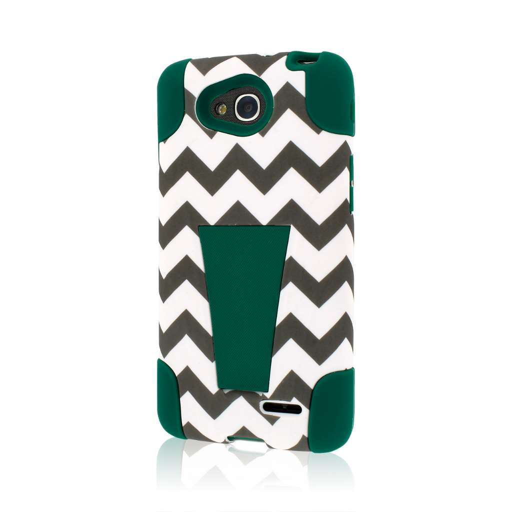 LG Optimus Exceed 2 - Teal Chevron MPERO IMPACT X - Kickstand Case Cover