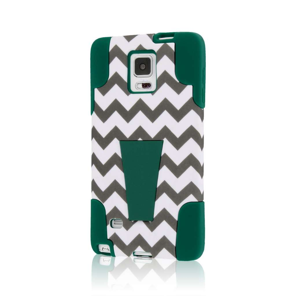 Samsung Galaxy Note 4 - Teal Chevron MPERO IMPACT X - Kickstand Case Cover