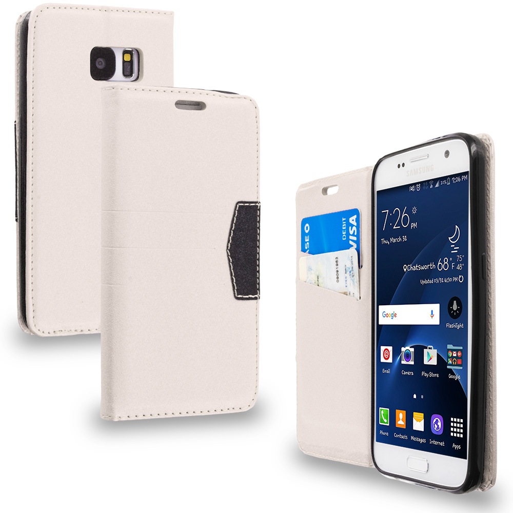Samsung Galaxy S7 Combo Pack : Gold Wallet Flip Leather Pouch Case Cover with ID Card Slots : Color White