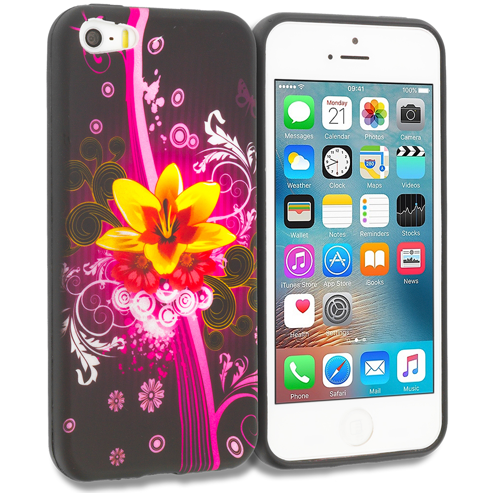 Apple iPhone 5/5S/SE Pink Flower Explosion TPU Design Soft Rubber Case Cover