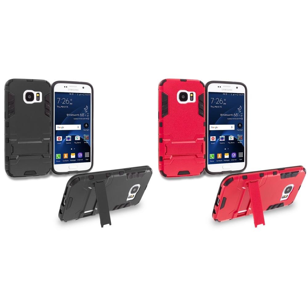 Samsung Galaxy S7 Combo Pack : Black Hybrid Transformer Armor Slim Shockproof Case Cover Kickstand