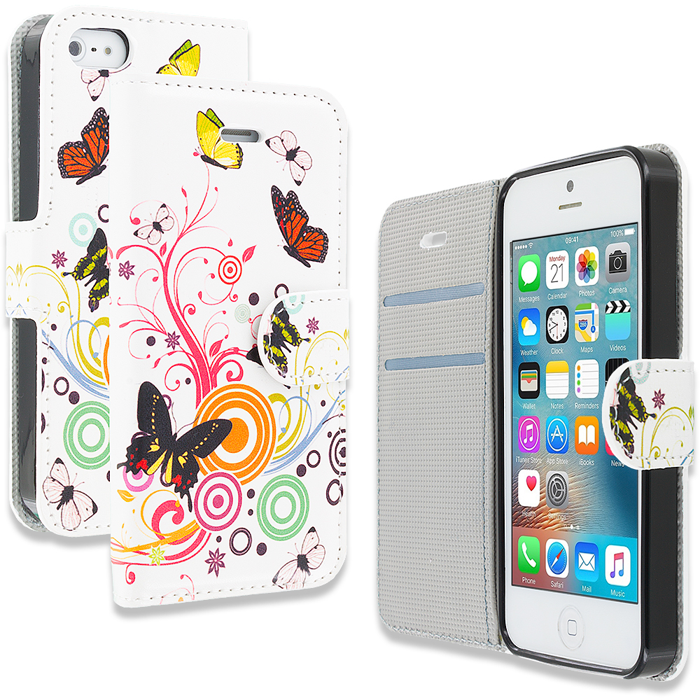 Apple iPhone 5/5S/SE Autumn Flower Design Wallet Flip Pouch Case Cover with Credit Card ID Slots