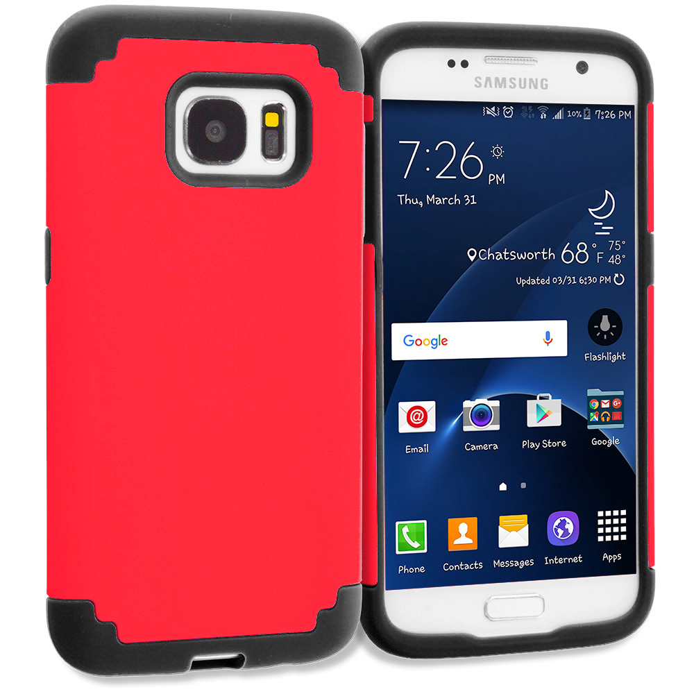 Samsung Galaxy S7 Combo Pack : Blue / Black Hybrid Slim Hard Soft Rubber Impact Protector Case Cover : Color Red / Black