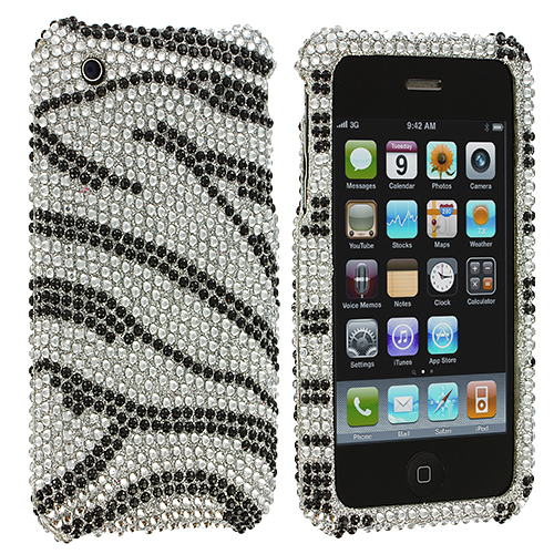 Apple iPhone 3G / 3GS Silver n Black Zebra Bling Rhinestone Case Cover