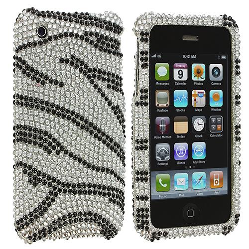 Apple iPhone 3G / 3GS Silver n Black Zebra Bling Rhinestone Case Cover
