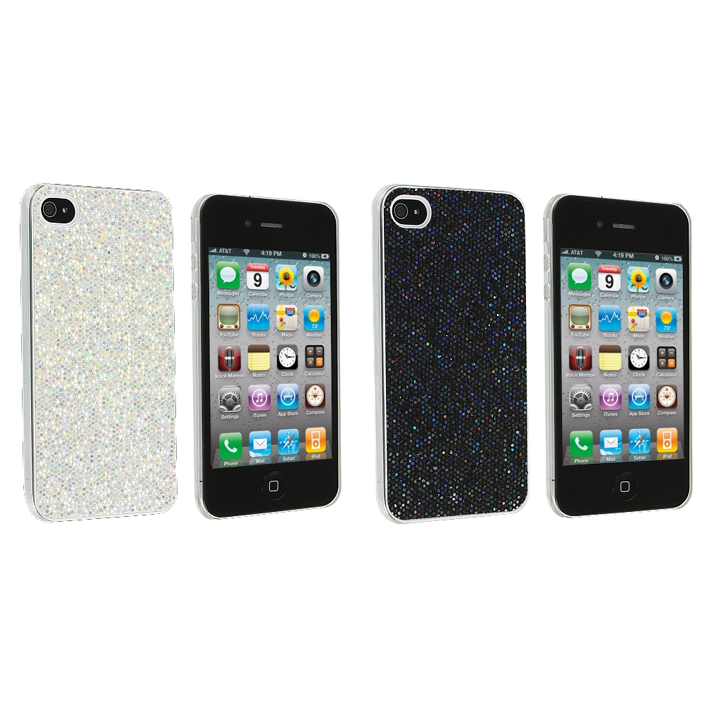Apple iPhone 4 / 4S 2 in 1 Combo Bundle Pack - Silver Black Glitter Case Cover