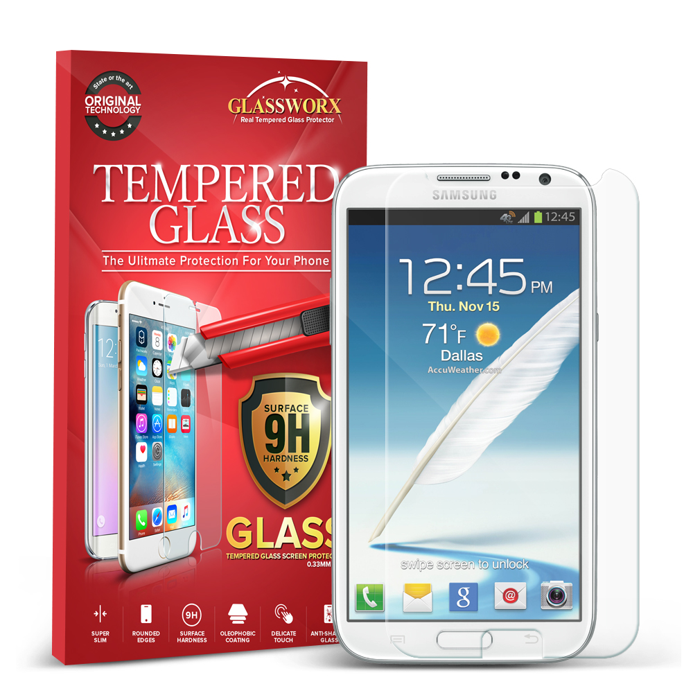 Samsung Galaxy Note 2 II N7100 GlassWorX HD Clear Tempered Glass Screen Protector