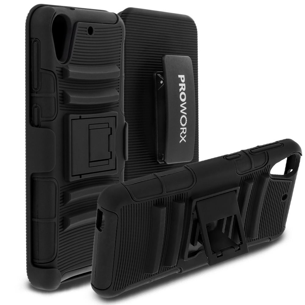 HTC Desire 626 / 626s ProWorx Black Heavy Duty Shock Absorption Armor Defender Case Cover With Belt Clip Holster