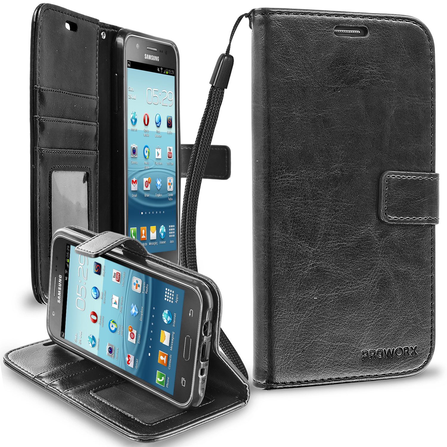Samsung Galaxy J7 Black ProWorx Wallet Case Luxury PU Leather Case Cover With Card Slots & Stand