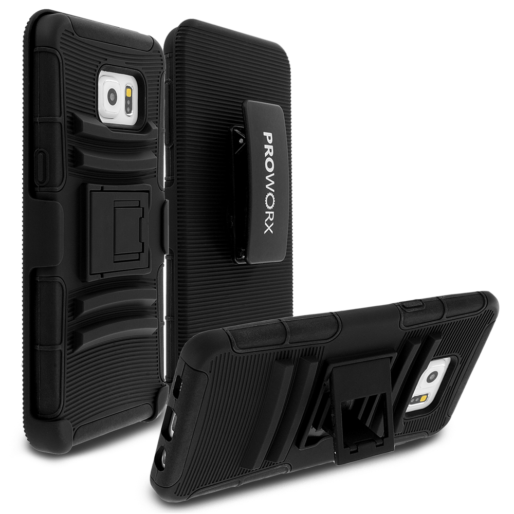 Samsung Galaxy S6 Edge Black ProWorx Heavy Duty Shock Absorption Armor Defender Case Cover With Belt Clip Holster