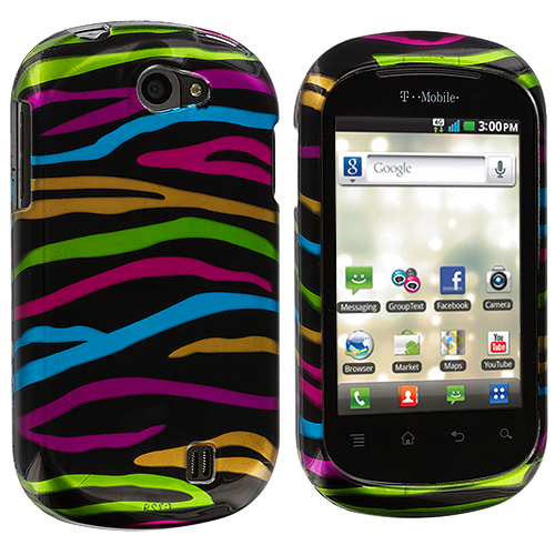 LG DoublePlay C729 / Flip II Rainbow Zebra on Black Design Crystal Hard Case Cover